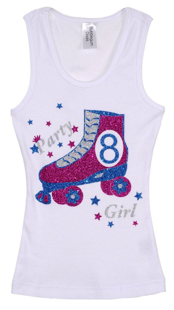 Girls 8th Birthday Roller Skates Shirt! A Birthday must have for any princess planning on having a skate party! Soft cotton-blend fabric, and fun, shimmery design make this tank the perfect wardrobe must-have for girls on the go.  Included in Price: Choose your Birthday Party Number 6,7,8,9,10,11,12 etc. for the inside of the skate. Please let me know in the NOTES Section at check out. Purchase Everything or only the items you select.  Items To Purchase • Tank • Tutu • Hair Clip • Add A Name…