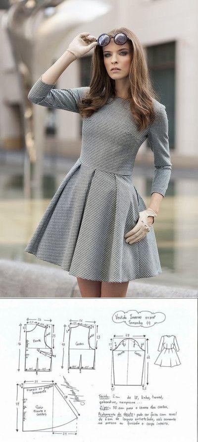 Damenkleid mit Muster. Größen 36-46 Euro  – Falda
