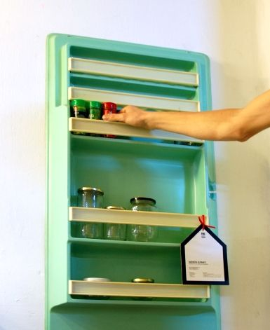 Vintage fridge doors repurposed into new shelving. Great for the kitchen or pantry!