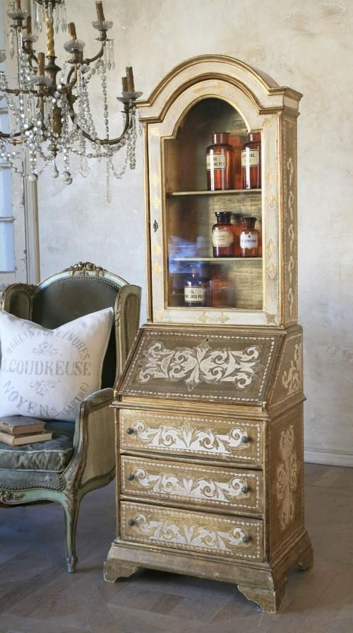 French vintage chair with a florentine secretary..