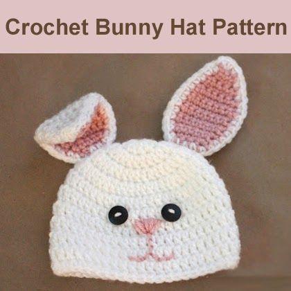Crochet sombrero del conejito del patrón