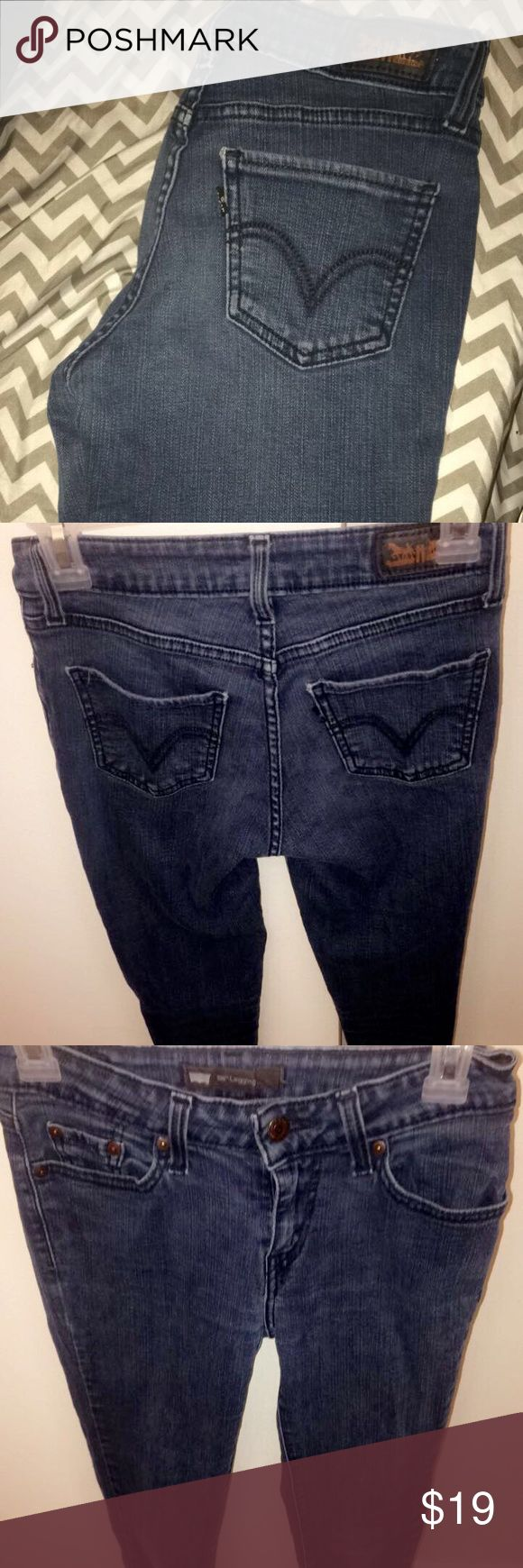 Levi Skinny Jeans Worn, still in good condition! Levi Skinny Jeans,  legging type of jeans. Little marks of wear near the knee part of the knees not noticeable.size:3M usually a 26 inch in jeans Levi's Jeans Skinny