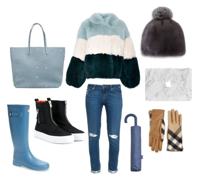 Informal by loulou-luna on Polyvore featuring moda, Genny, Paige Denim, Hunter, Joshua's, RED Valentino, The Fur Salon, Burberry and MANGO