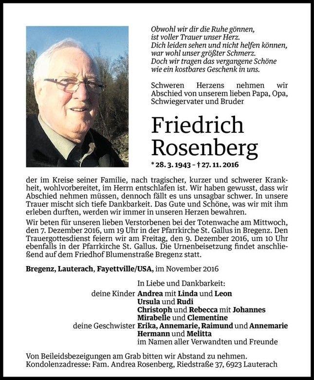 Todesanzeige für Friedrich Rosenberg vom 02.12.2016 - VN Todesanzeigen