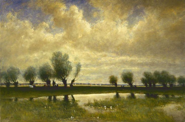 Polderlandschap met wilgen, olieverf op doek 74,0 x 111,7 cm., gesigneerd l.o. en gedateerd 1912