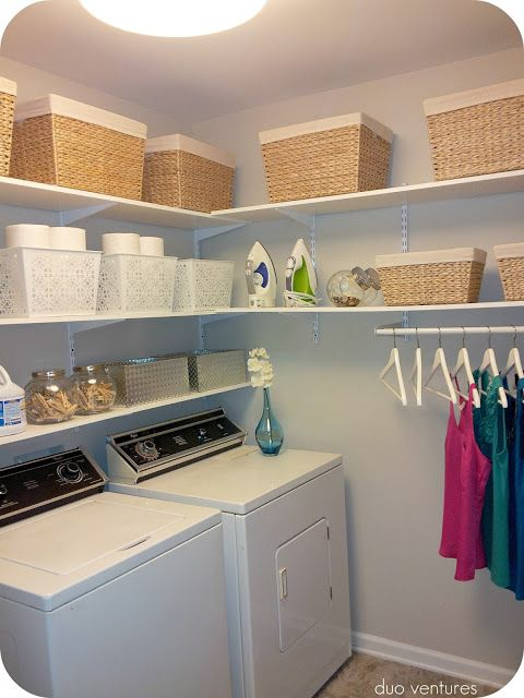 Laundry room. Another shelf over the washer/dryer to hide the water and  electric