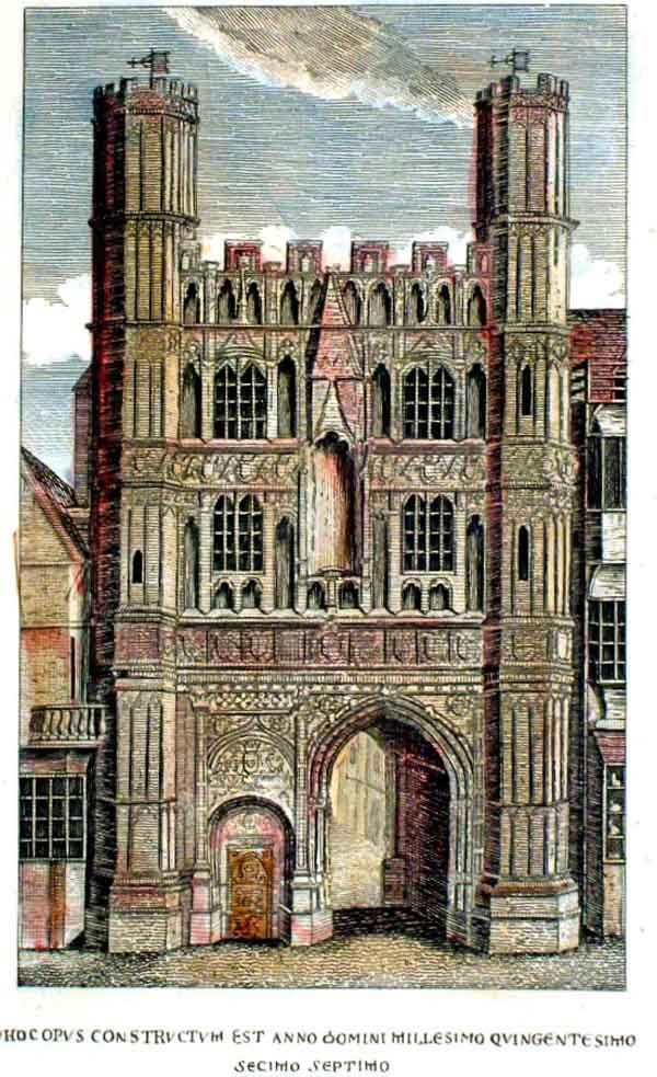 Originele toren met ingang van de kathedraal van Canterbury. Gebouwd tussen 1504 en 1521 met middelen van de priors Goldstone en Goldwell. Waarschijnlijk is de poort gebouwd ter ere van Prins Arthur, de oudere broer van Hendrik VIII, en zijn bruid Katerina van Aragon. Arthur stierf al in 1502 op 16-jarige leeftijd. Hendrik werd toen koning en die trouwde ook met Katerina in 1509. Deze torens werden in 1803 afgebroken. Maar in 1837 weer opgebouwd.