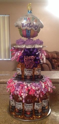 "Beer bottle ""birthday cake""/tower. bachelor party, birthday party, baby shower, graduation, centerpiece, beer bottles, glass bottles"