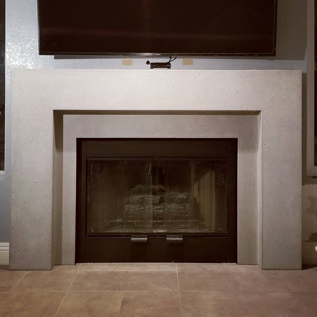 Last Nights Install Of The Concrete Fireplace Steel Was Trimmed
