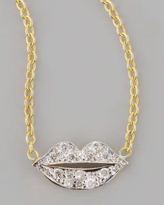 Mini Diamond-Lip Pendant Necklace by Kacey K at Neiman Marcus.
