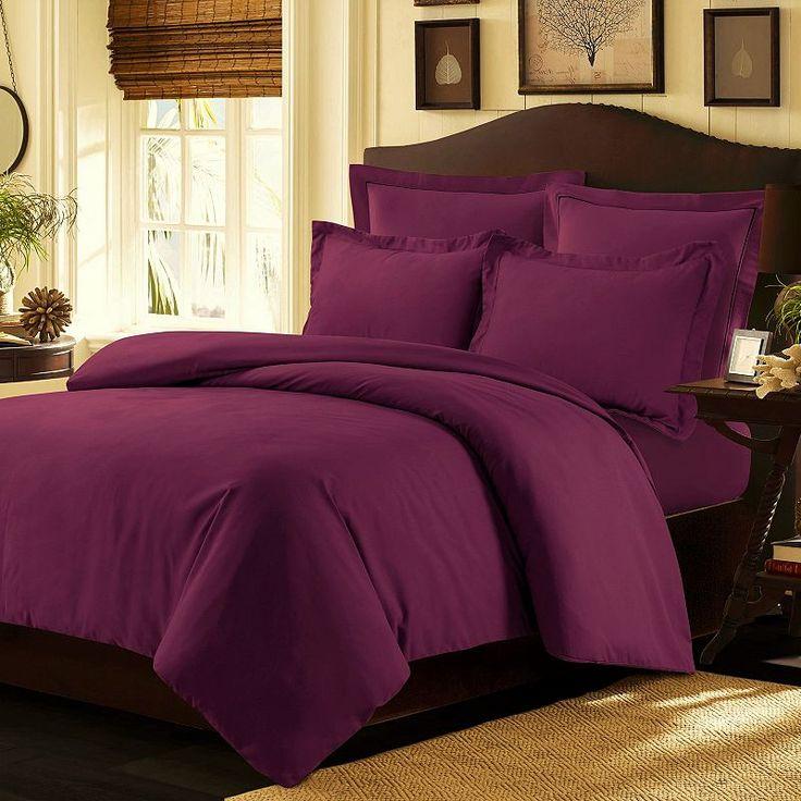 Tribeca Living Valencia Solid Duvet Cover Set, Purple