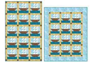 Choose from Two Layout Options when You Sew a Sailboats Quilt for Baby: Make a Sailboats Baby Quilt