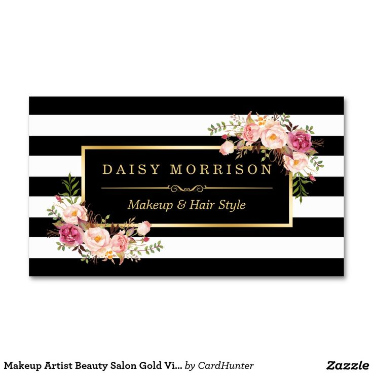 Makeup Artist & Beauty Salon Gold Vintage Floral with Black and White Stripes Business Card Template. This design is perfect for Florist, Event Planner, Freelancer, Wedding Coordinator, Photography, Interior Designer, Makeup Artist, Massage Therapist, Hair Stylist, Nail Technician, Beautician, Cosmetologist, SPA Salon Store, and more.