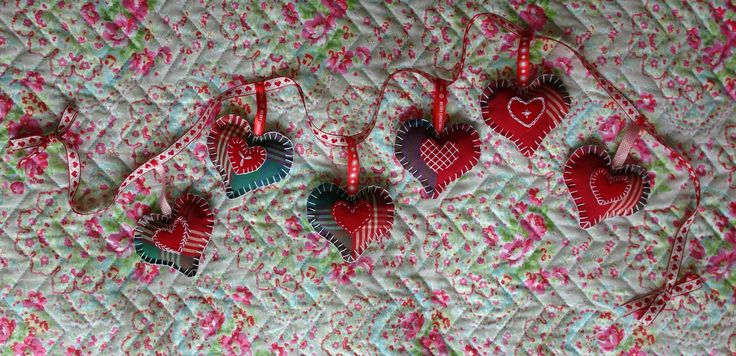Tartan Heart Garland, c. 1m in length Handmade by Oh Sew Maeve