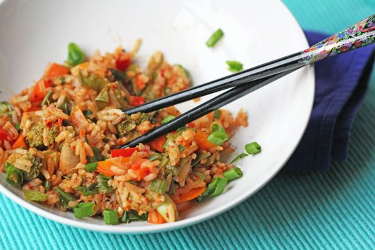 Kimchee Fried RiceFries Rice Vegan, Food Blogs, Asian Cooking, Bell Peppers, Kimchi Fries, Kimchee Fries, Chinese Asian Food, Vegan Dinner, Fried Rice