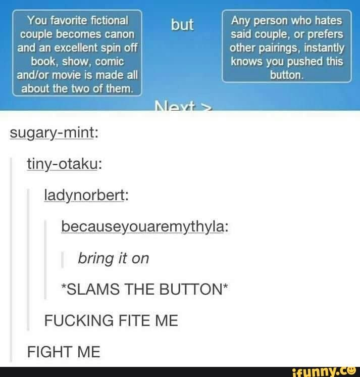 FIGHT ME DESTIEL HATERS! *slams hand down on button and pulls out a switchblade*