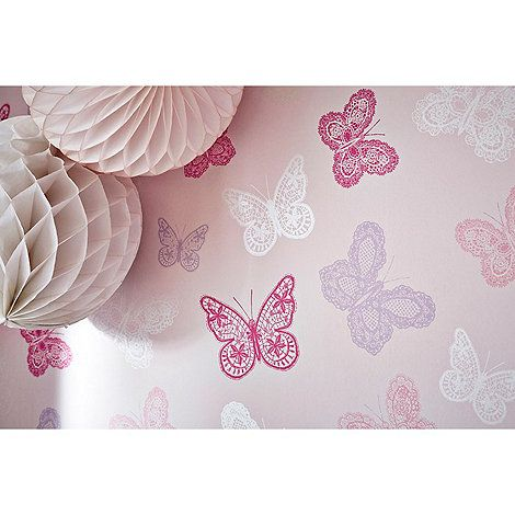 Graham U0026 Brown Kids Girls Kids Bedroom Nursery Pink U0026 Purple Butterfly  Print Wallpaper  |