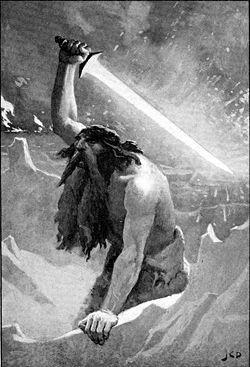 """Muspelheim eller Muspelhem (av muspilli, """"världsbrand"""" eller Mund-spilli, """"världsförintare"""") var i skapelsen enligt den nordiska mytologin eldens värld i södra Ginnungagap. Därifrån flög gnistor och skapade sol, måne och stjärnor. I Muspelheim härskar de förgörande eldmakterna. De flammande eldvarelserna kallas även för ''Muspels söner'' (eldens söner) och styrs av eldjätten Surt (den av sot svarte). Surt äger ett skinande svärd vars klinga är av eld och inget vapen kan mäta sig med dess…"""