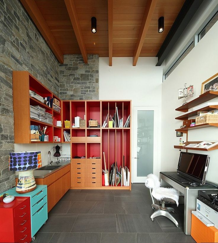 red home office. 15 exquisite home offices with stone walls red office l
