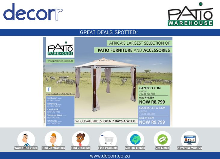 #DecorrOutdoor Great Deals Spotted at http://www.decorr.co.za/patio-warehouse/ #decorrpromo