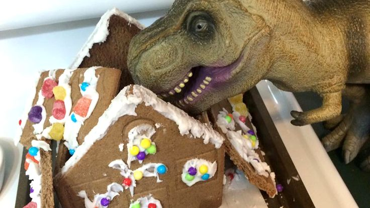 Gingerbread house falling apart? No worries - just add a dinosaur !!!
