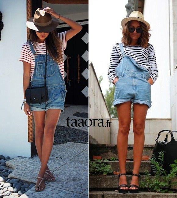Salopette short en jean + marinière + chapeau = le bon look !
