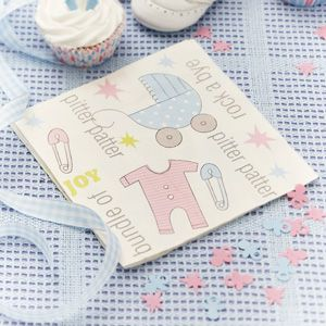 Pack of 20 3 ply paper napkins.  Cute baby motifs in pink and blue.  Great for keeping clean sticky fingers at the baby shower. £2.99 from the Fuschia Boutique at www.fuschiadesigns.co.uk.