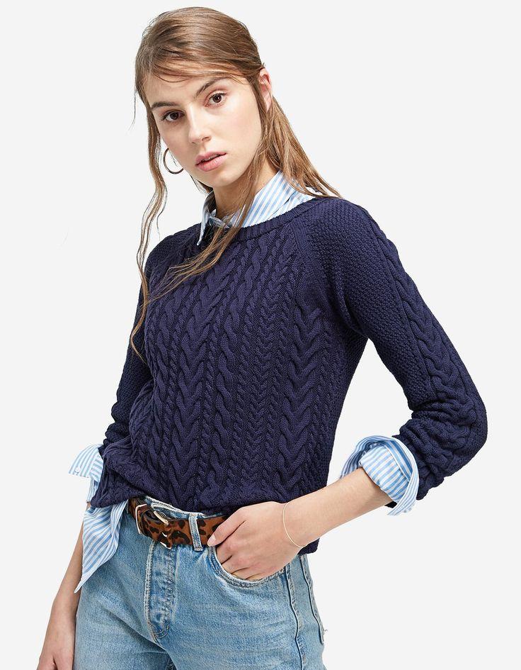 Sweter z warkoczowym splotem - Swetry | Stradivarius Polska