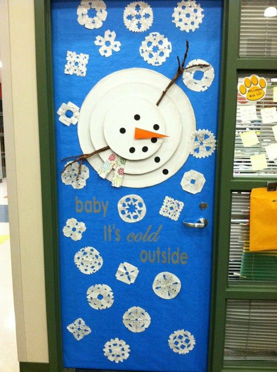 A winter door....also an art lesson for the snowman to show art from a different perspective.