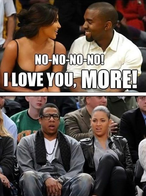 funny caption picture kim kanye lovey dovey beyonce jay z look LMFAO ...
