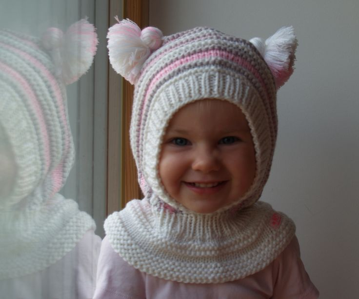 Hand knitted White Balaclava hat. Wool hoodie hat for baby, toddler and children. Made from white, pink and grey merino wool, Soft and very functional - perfect to keep the little ones warm and cozy during cold days         Size:6-12 Months  1-3 Years 3-6 Years 6-10 Years           Price: 39$