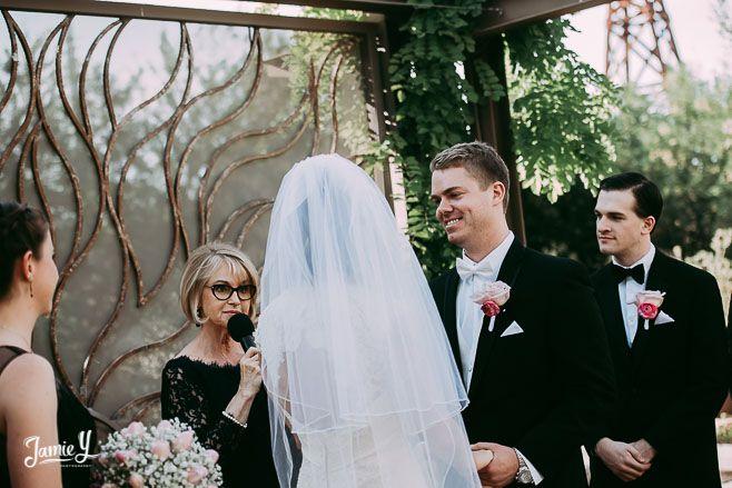 Rev Judy Irving, Wedding Vows Las Vegas, officiating at Las Vegas Springs Preserve Wedding of Ashley & Grant - Jamie Y Photography