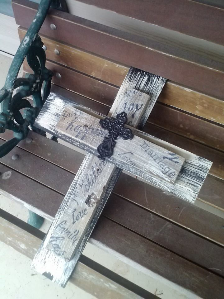 Made from old fence, Luann and metal cross for my niece