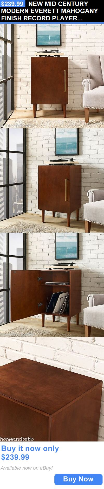 Home Audio: New Mid Century Modern Everett Mahogany Finish Record Player Stand By Crosley BUY IT NOW ONLY: $239.99