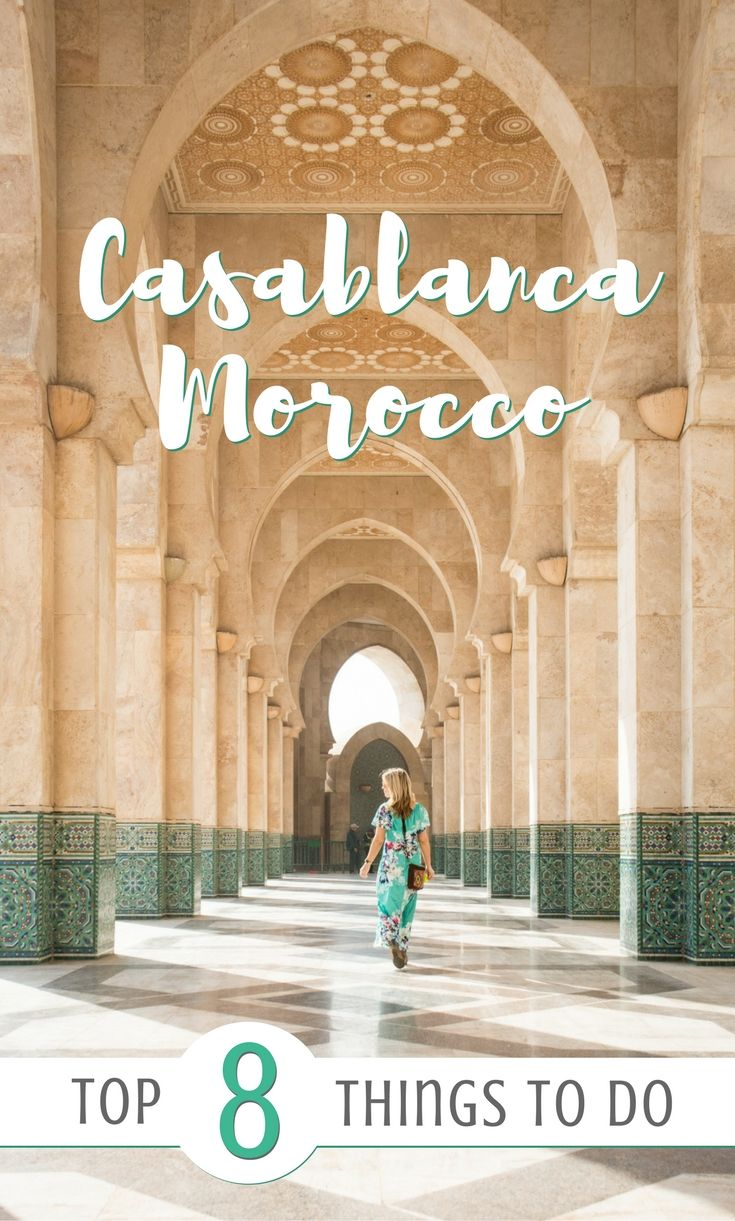 Casablanca, Morocco: The Top 8 Things To Do! If you're headed to Casablanca check out this handy guide for where to eat, what to see, and where to sleep. Including the Hassan II Mosque, Habbous, the old and new Medinas, the Corniche, and Rick's Cafe. by Wandering Wheatleys (@wanderingwheatleys)  #Casablanca #Morocco #TravelGuide #Africa #Mosque #FourSeasons