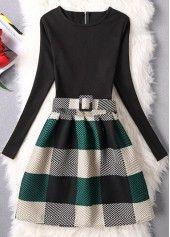 Zipper Closure Plaid Print A Line Dress | lulugal.com - USD $25.43