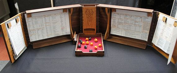Hardwood Dungeon / Game Master (DM / GM) Screen with Dice Tower and Storage