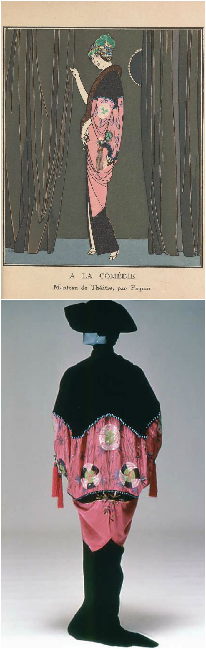 "Opera coat by Jeanne Paquin, 1912, at the Metropolitan Museum of Art. Illustration from ""Gazette du bon ton: arts, modes & frivolités,"" 1912-1913, Tome I, courtesy of the Smithsonian Libraries."