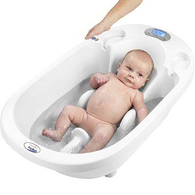 Babymoov Baignoire bébé digibatha première baignoire 3 en 1 qui pèse bébé ! Transat intégré pour une utilisation de 0 à 6 mois Partie centrale amovible pour une utilisation en position assise jusqu'à 12 mois