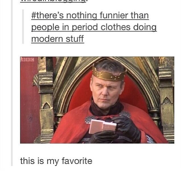 Uther Pendragon with his PINK DS, ladies and gentlemen. Do you guys remember when they did that stuff for comic relief and they had hairdryers and stuff- I never laughed so hard in my life