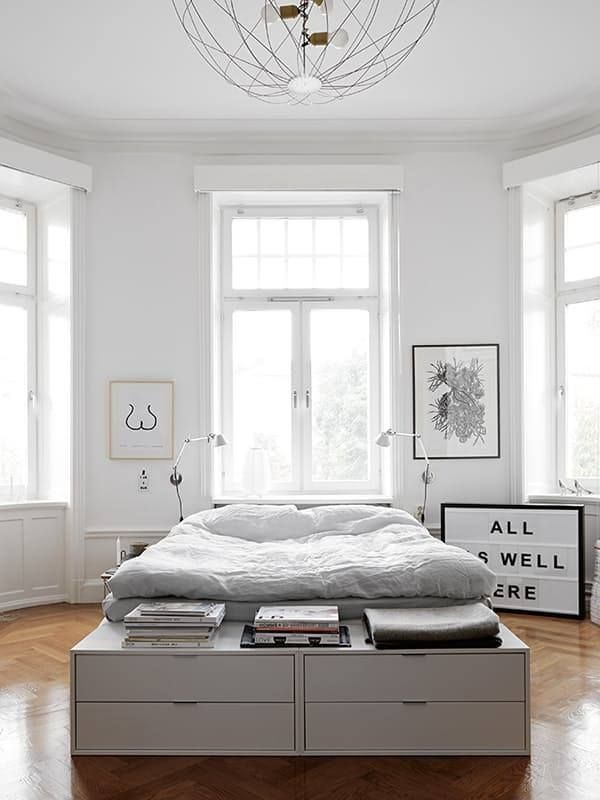 A sunny and stylish bedroom from My Scandinavian Home. http://www.galaxy-builders.com