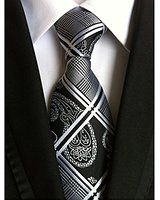 Allbebe Men's Fashion Grey Jacquard Woven Silk Tie Microfiber Formal Necktie