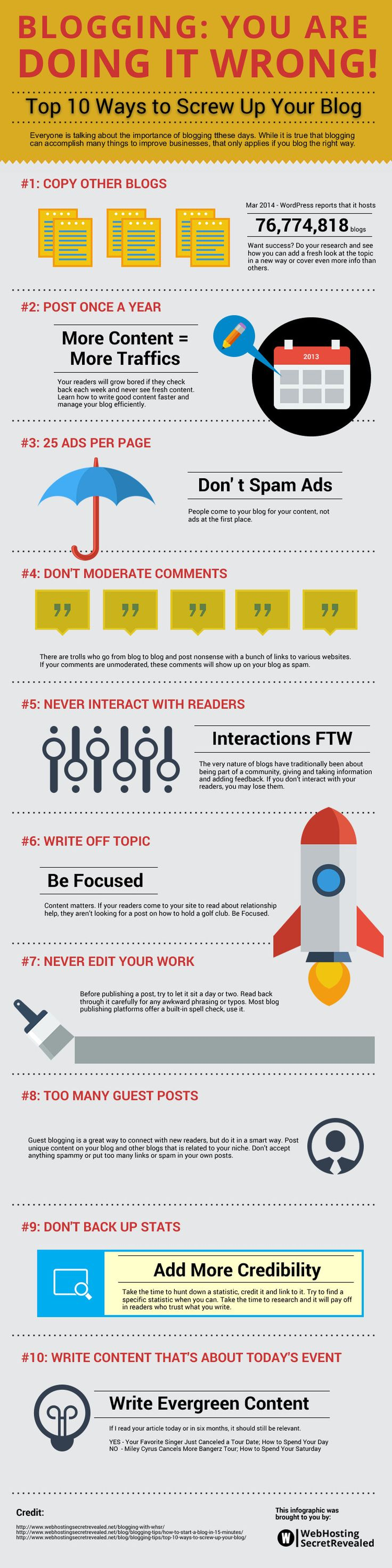 Blogging: You are Doing it Wrong  Top 10 Ways To Screw Up Your Blog   #Blogging #Blog #ContentMarketing #infographic