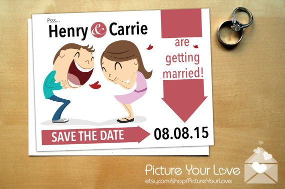 Super cute cartoon portrait wedding save the date! Comes in magnets or cards. Customizable to each couple's likeness, by Picture Your Love on Etsy! Very modern, unconventional, for offbeat bride and grooms! Funny, comic style invitation and announcement.