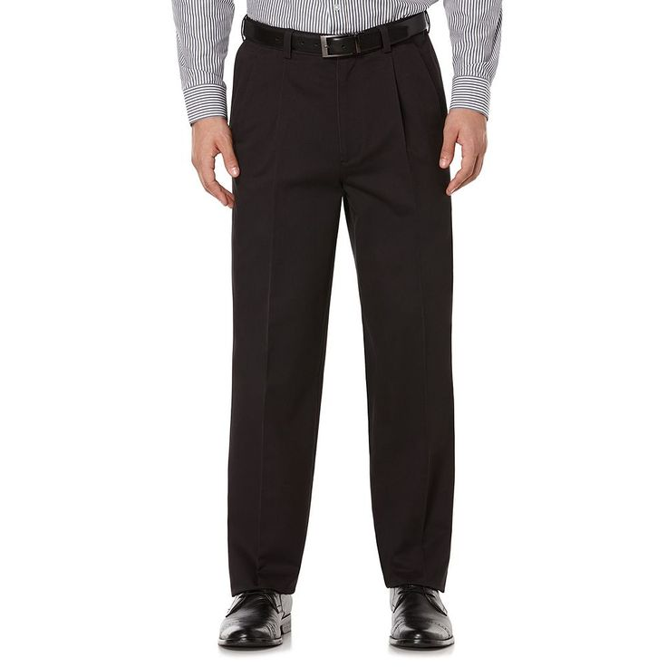 Men's Savane Ultimate Straight-Fit Performance Pleated Chino Pants, Size: 40X29, Grey (Charcoal)