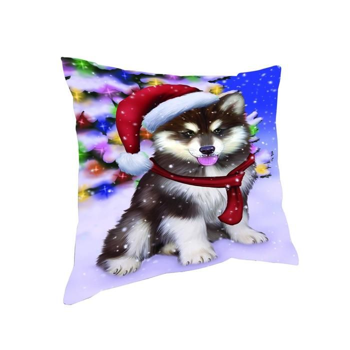 Santa Sleeping with Boxer Dogs Christmas Pillow 14x14