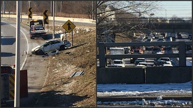 The woman's car left I-95 and flipped over the embankment Tuesday morning, according to Rhode Island State Police.