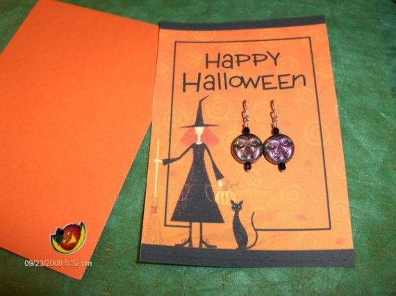 Halloween Earring Trick or Treat Card Set by SouthamptonCreations, $4.00