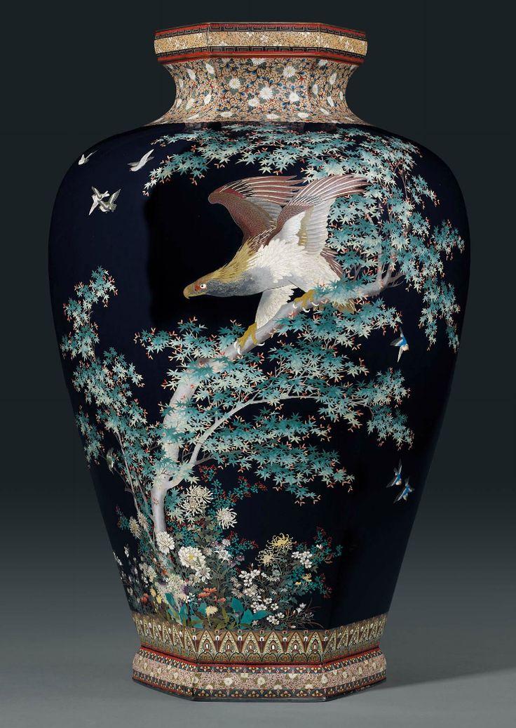 A Rare and Large Cloisonné Vase Mark of the Hayashi Chuzo workshop, Meiji Period (late 19th century).