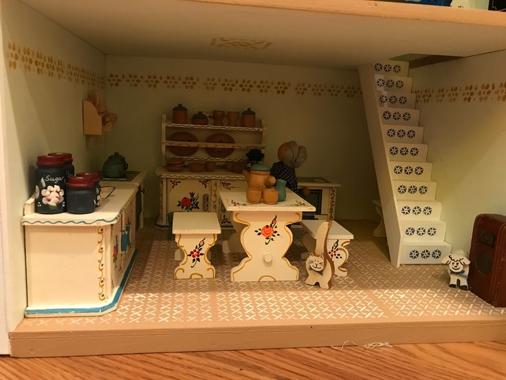 Miniature Scene - The kitchen in Avery's Dollhouse